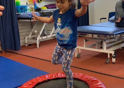 Having fun during advanced balance and posture practice in Physio for child with dcd, dyspraxia