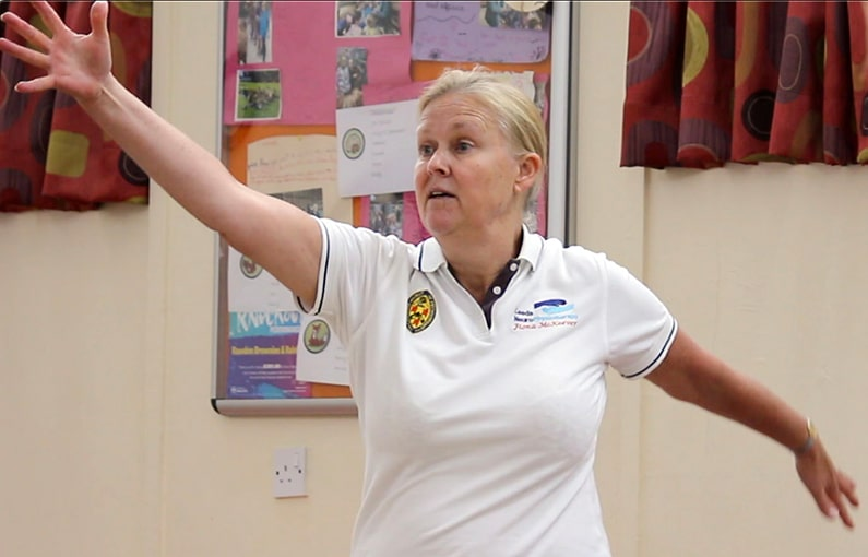Parkinson's specialist physiotherapist leading advanced exercise class for fitness mobility and to reduce disease progression